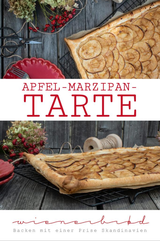 Rezept für Apfel-Marzipan-Tarte, einfache und schnelle Tarte mit Blätterteig und einer Marzipancreme / Apple marcipan tarte, easy and quick cake with puff pastry and a marcipan creme [wienerbroed.com]