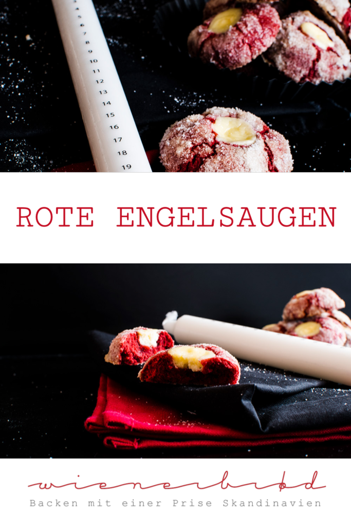 Rote Engelsaugen, knallrote Kekse mit leckerer Käsekuchenfüllung / Red Velvet Cheesecake Cookies, deep red cookies with cheesecake filling [wienerbroed.com]