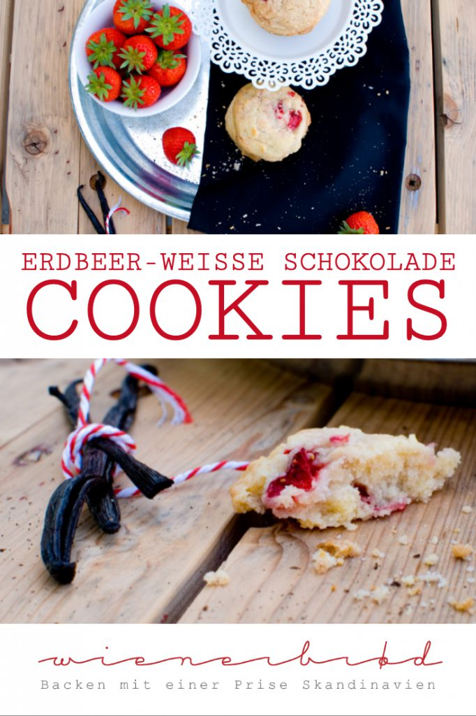 Erdbeer-weiße Schokolade-Cookies, knusprige Cookies mit Erdbeeren / Strawberry white chocolate cookies, crispy cookies with fresh strawberries [wienerbroed.com]