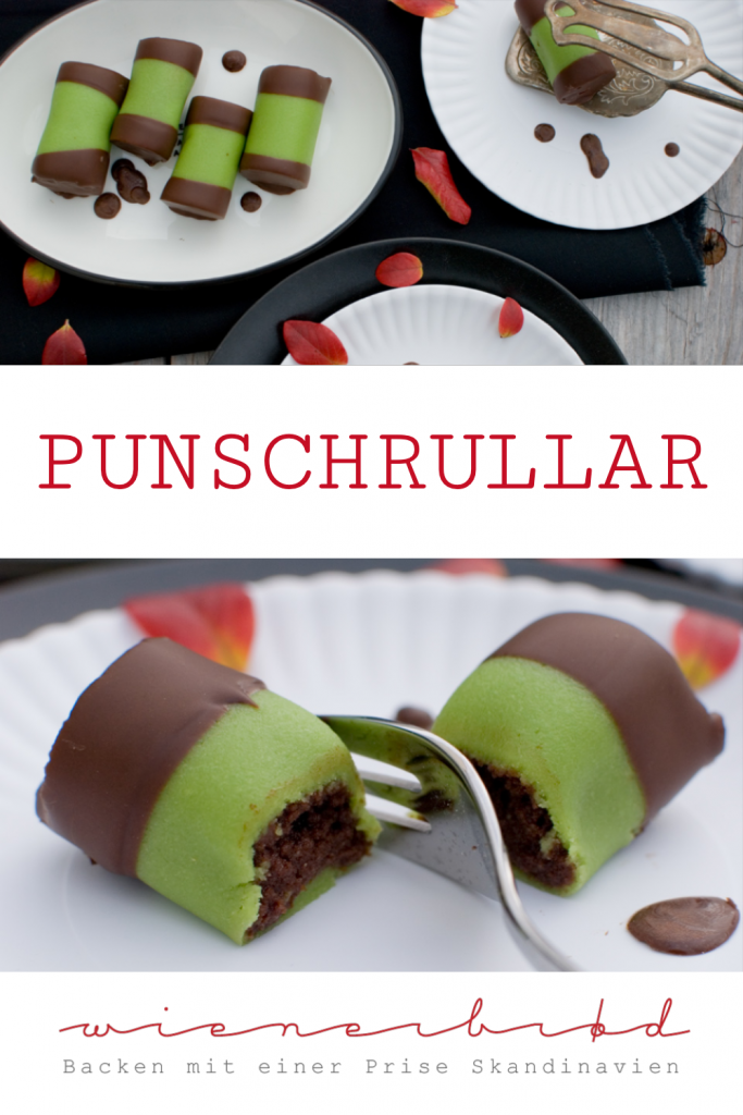 Punschrullar, schwedische Schokokuchen-Röllchen mit grünem Marzipan und Arrack / Punschrullar, Swedish chocolate cake rolls with green marcipan and arrack [wienerbroed.com]