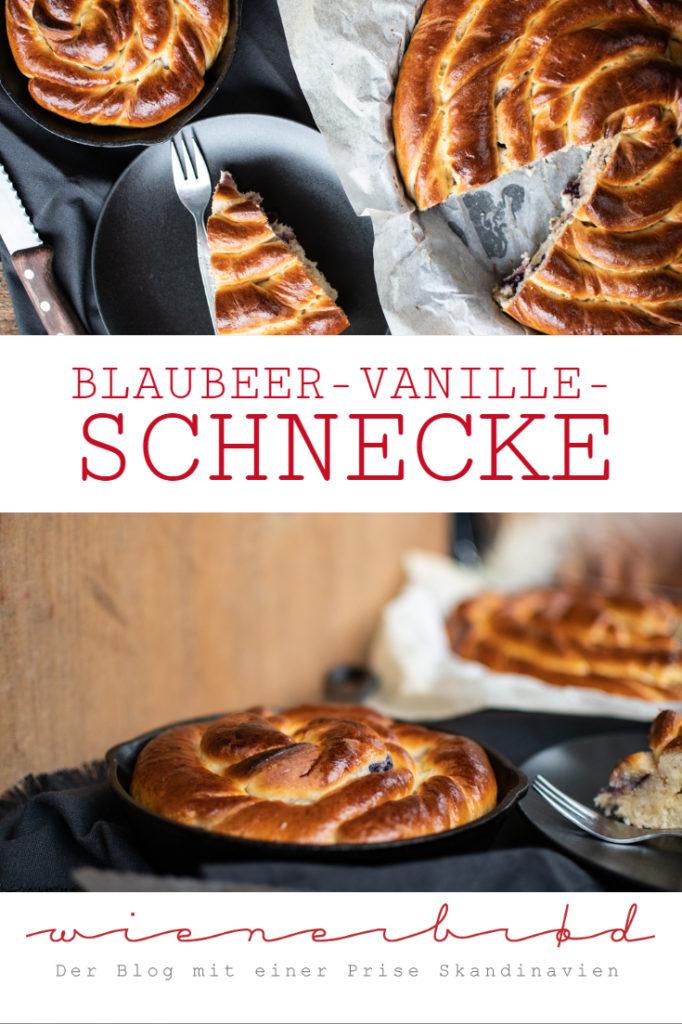 Blaubeer-Vanille-Schnecke, riesige Hefeteigschnecke mit Cremefüllung und Blaubeeren / Blueberry vanilla bun, giant bun with creme filling and blueberries [wienerbroed.com]