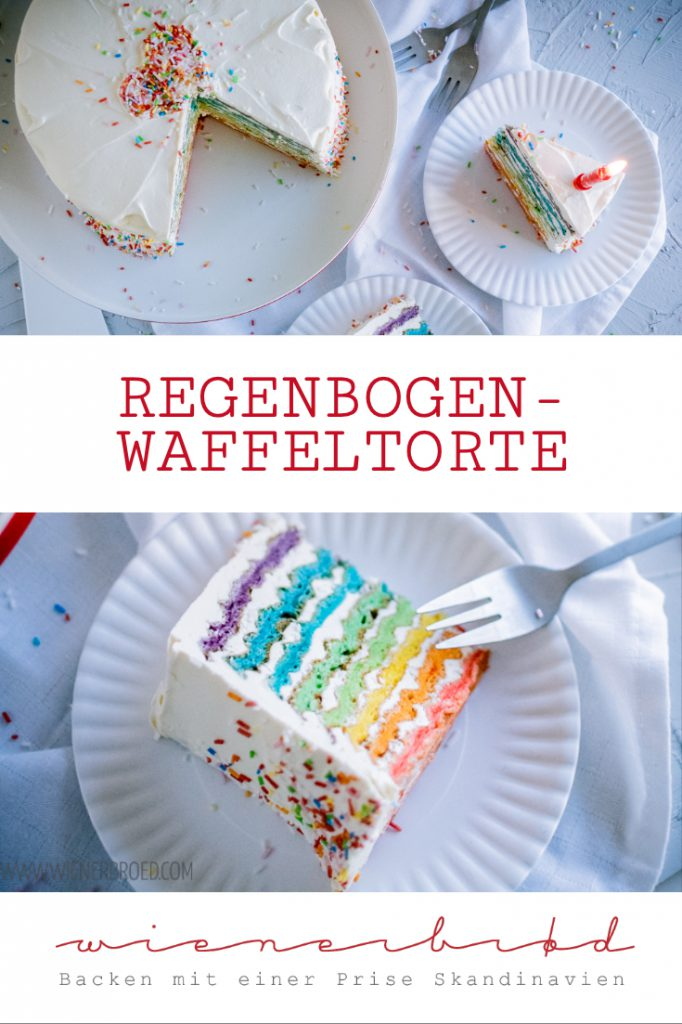 Regenbogen-Waffeltorte, fluffige Buskuitwaffeln mit Buttercreme mit weißer Schokolade / Rainbow waffle cake, fluffy sponge cake waffled with white chocolate buttercream [wienerbroed.com]