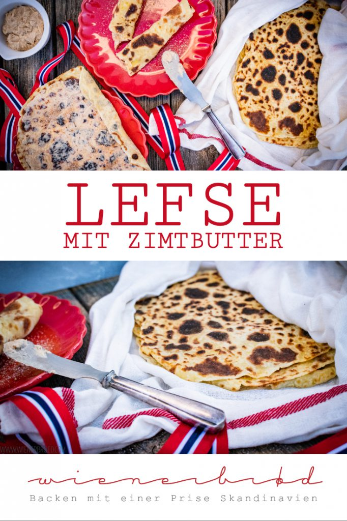 Lefse mit Zimtbutter - norwegische Spezialität aus Kartoffelteig mit einer Butter mit Zimt&Zucker / Lefse with cinnamon Butter, Norwegian speciality with potatoe dough filled with a Butter with sugar&cinnamon [wienerbroed.com]
