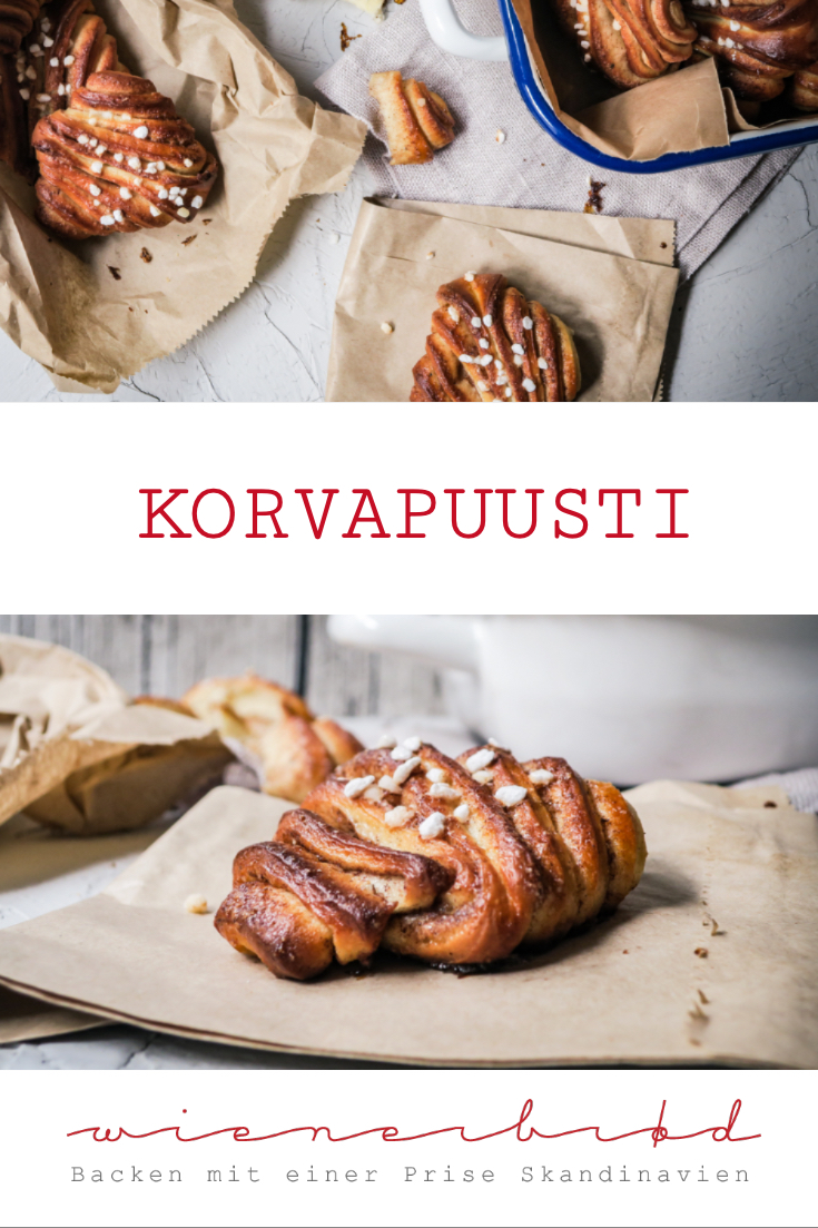 Korvapuusti, finnische Version der Zimtschnecken mit ordentlich Kardamom und besonderer Form / Korvapuusti, Finnish version of cinnamon buns with lots of cardamom and a special form [wienerbroed.com]