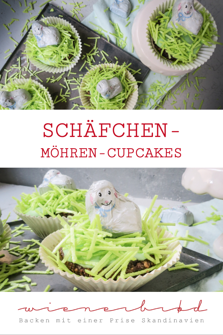 Schäfchen-Möhren-Cupcakes, saftige kleine Möhrenkuchen mit grasenden Schäfchen als Deko, nicht nur zu Ostern ein Hingucker / Sheep carrot cupcakes, juicy small carot cakes with sheeps on top, not only for Easter [wienerbroed.com]