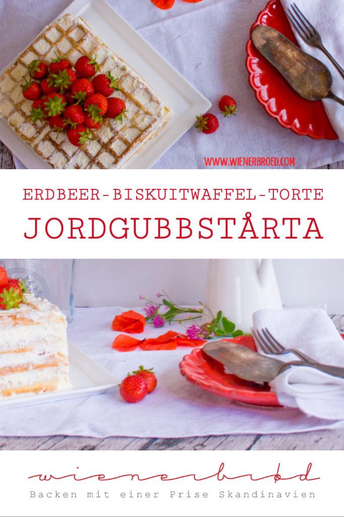 Jordgubbstårta, Erdbeer-Biskuitwaffel-Torte, der schwedische Klassiker zu Midsommar mit Biskuitwaffeln / Strawberry bisquit waffle cake [wienerbroed.com]