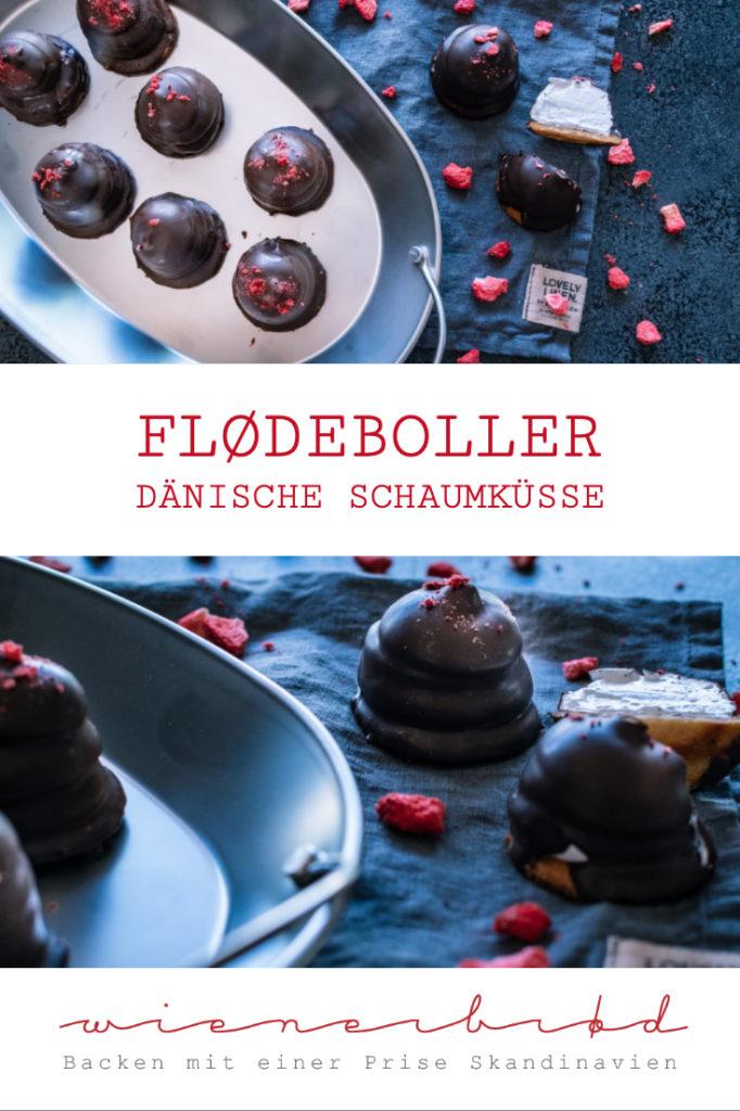 Flødeboller, herrlich fluffige, typisch dänische Schaumküsse mit knackiger Zartbitterschokolade und Marzipanboden [wienerbroed.com]
