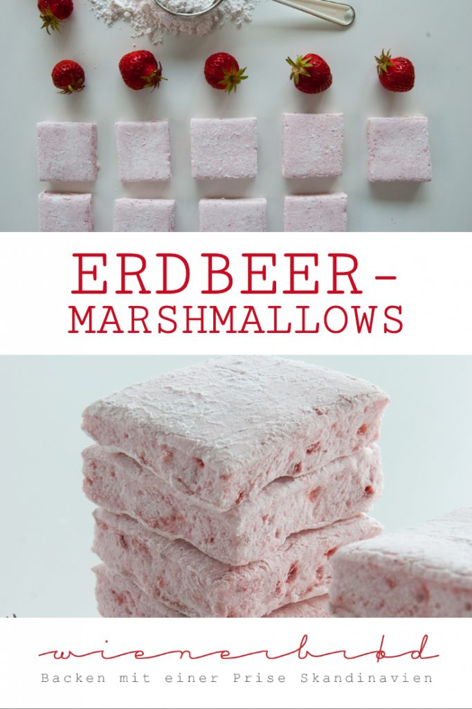 Erdbeer-Marshmellows - Rezept für erdbeerigste Marshmellows, das das ganze Jahr machbar ist [wienerbroed.com] Recipe for strawberry marshmellows, cou can make them all year round