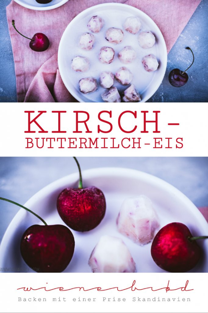Kirsch-Buttermilch-Eis, leckere Eishappen aus süßen Kirschen und säuerlicher Buttermilch, ohne Eismaschine / Cherry buttermilk ice cream, tasty icecream bites made of sweet cherries and sour buttermilk, no ice cream machine necessary [wienerbroed.com]