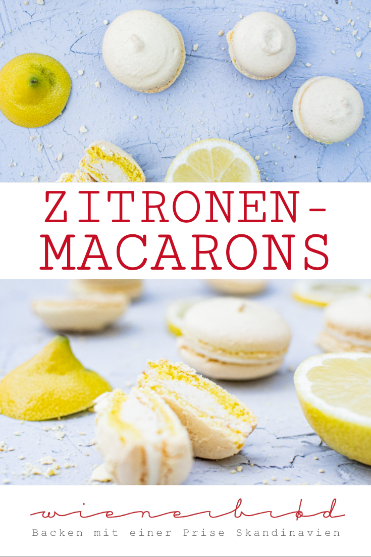 Zitronen-Macarons, zartes Baisergebäck mit frischer Zitronennote, einfaches Rezept / Lemon macarons, crispy with a fresh lemon taste, simple recipe [wienerbroed.com]