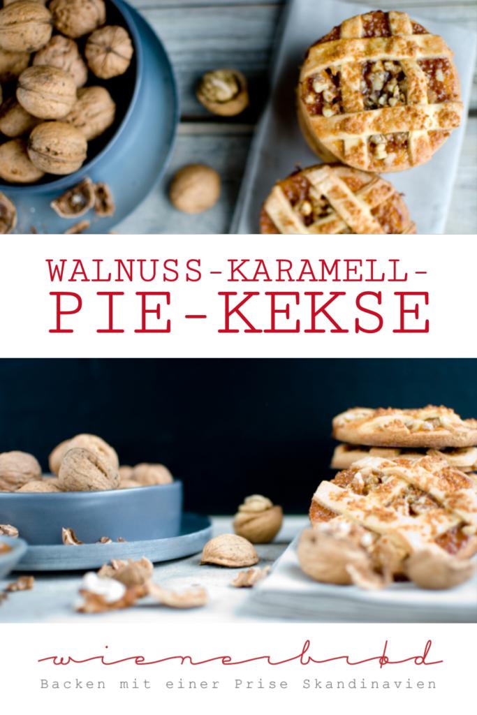 Walnuss-Karamell-Pie-Kekse mit Marzipan, herrlich mürbe Kekse mit Walnüssen, Karamell und Marzipan, die aussehen wie kleinen Pies / Walnut caramel pie cookies with marzipan [wienerbroed.com]
