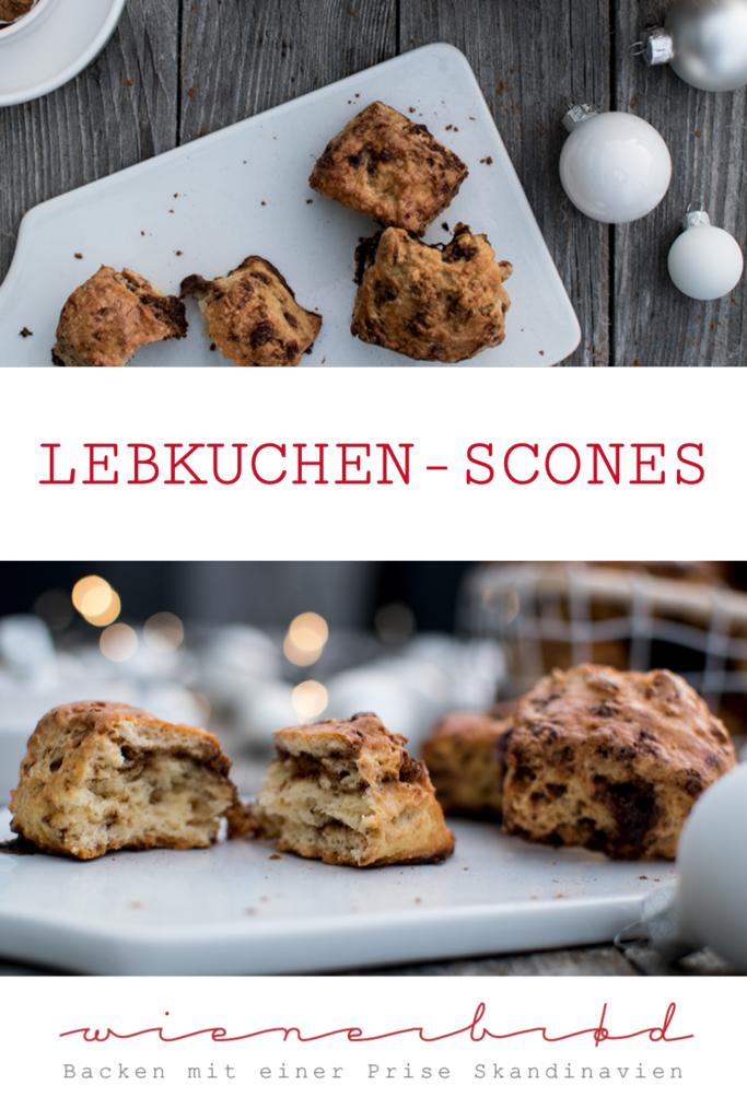 Rezept für Lebkuchen-Scones, fluffige Scone-Happen mit Lebkuchen-Krümeln / Gingerbread scones [wienerbroed.com]