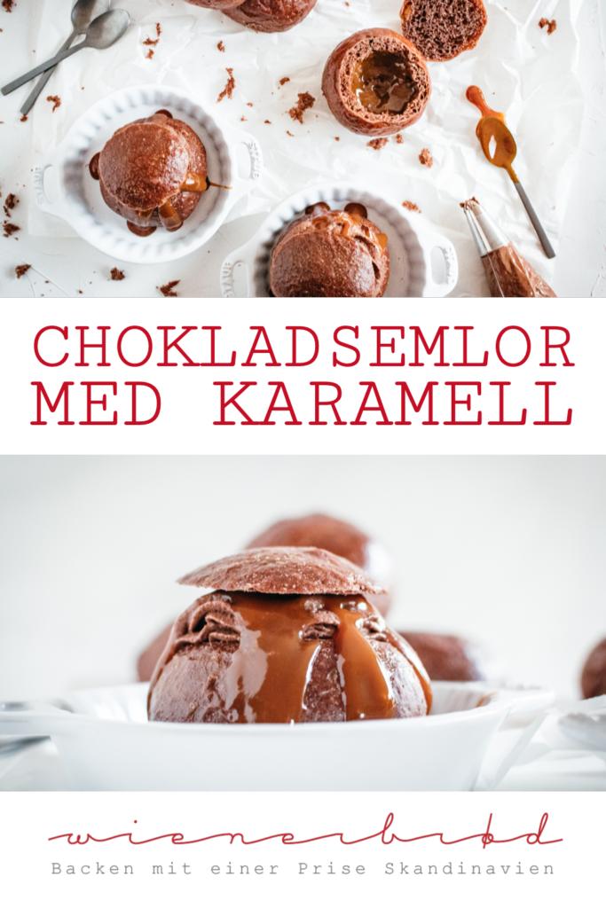 Chokladsemlor med karamell, schwedische Hefewecken aus Schoko-Hefeteig mit einer Füllung aus Schokosahne und Karamell /Swedish yeast buns with chocolate and caramel [wienerbroed.com]