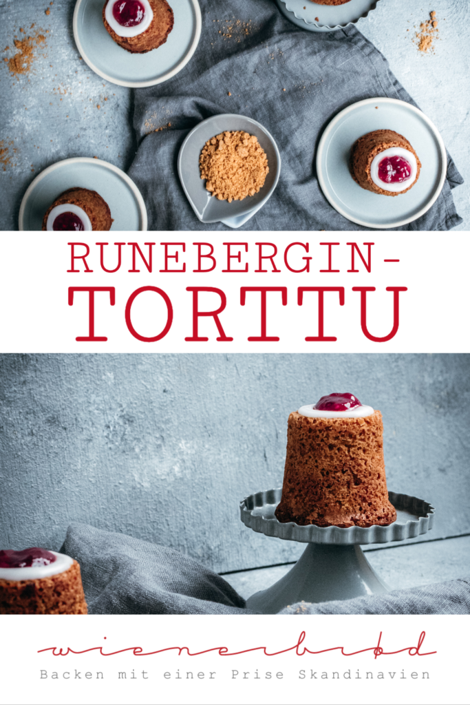 Rezept für Runebergintorttu, typisch finnisches Runeberg-Törtchen, kleine Rührteigküchlein mit Mandeln, Lebkuchen-Bröseln, Zuckerguss und Himbeer-Marmelade / Runeberg's cakes, typical Finnish little cake with almonds, gingerbread crumbs, icing and raspberry jam [wienerbroed.com]