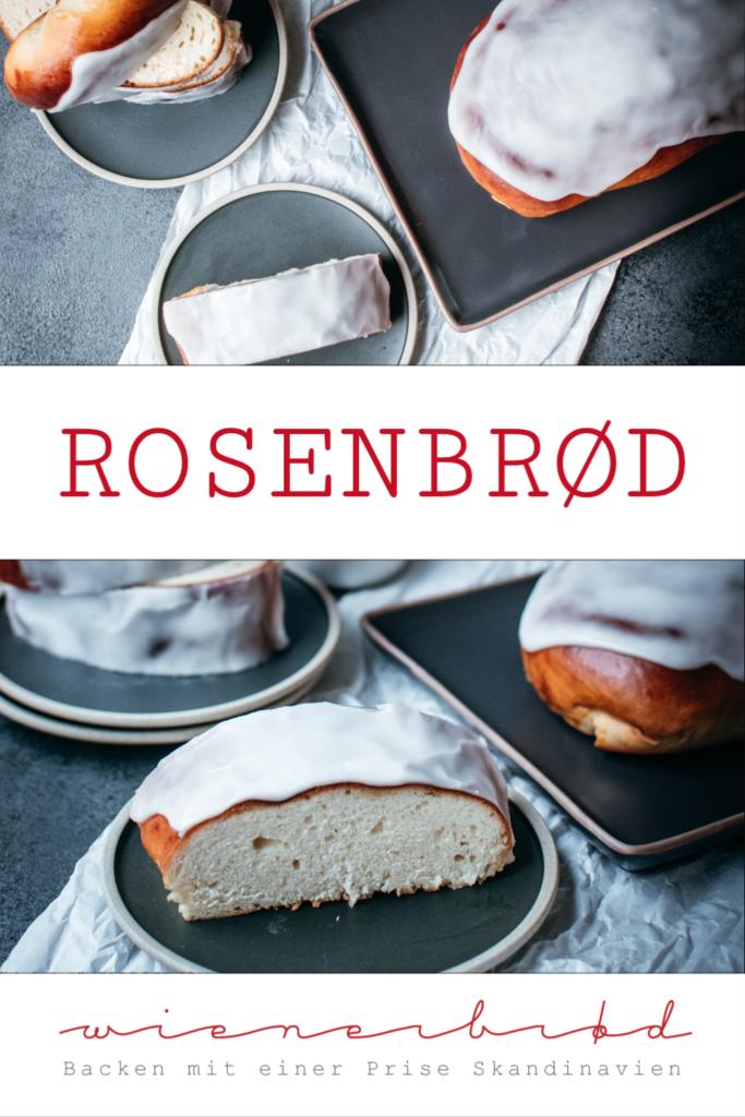 Rezept für dänisches Rosenbrød, fluffiges süßes Hefeteigbrot mit Zuckerguss und einer feinen Rosen-Note / Rosenbrød, fluffy Danish yeast dough bread with rose icing [wienerbroed.com]