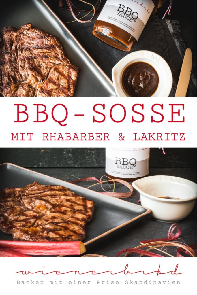 Rezept für eine BBQ-Soße mit Rhabarber und Lakritz, feinherb und perfekt zu Fleisch / BBQ Sauce with rhubarb and licquorice, perfect for beef [wienerbroed.com]
