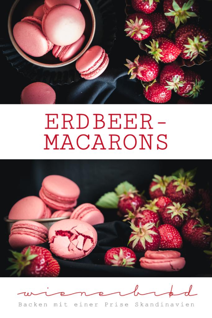 Rezept für Erdbeer-Macarons, zarte Baisers mit fruchtiger Erdbeer-Buttercreme / Strawberry macarons [wienerbroed.com]