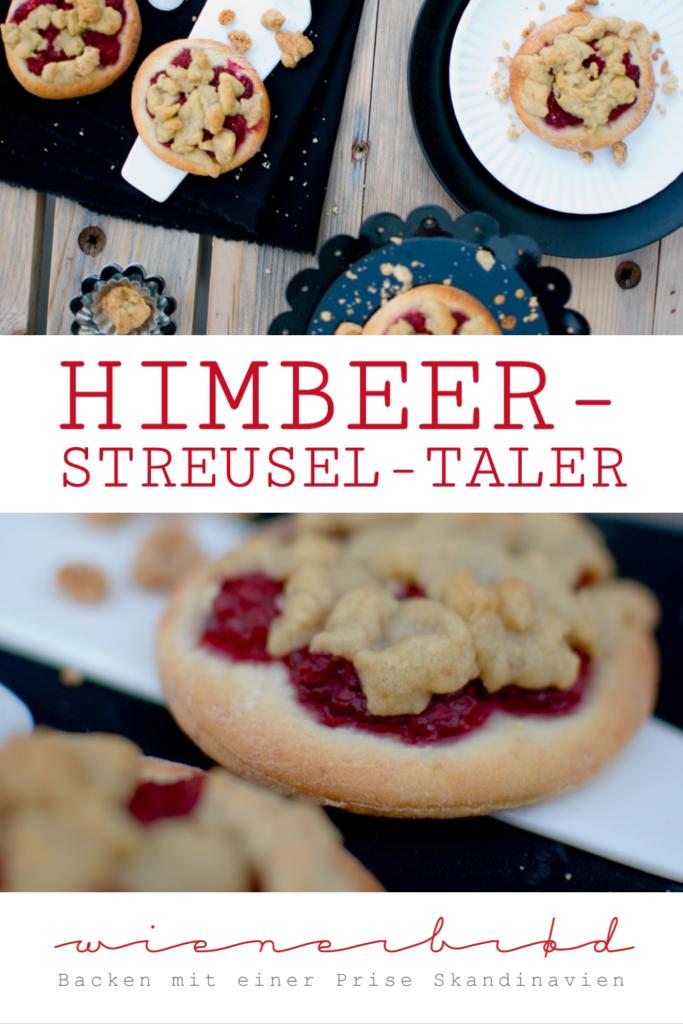 Rezept für Himbeer-Streusel-Taler, saftiger Hefeteig mit frischen, fruchtigen Himbeeren und obendrauf Zuckerguss / Raspberry streusel buns [wienerbroed.com]