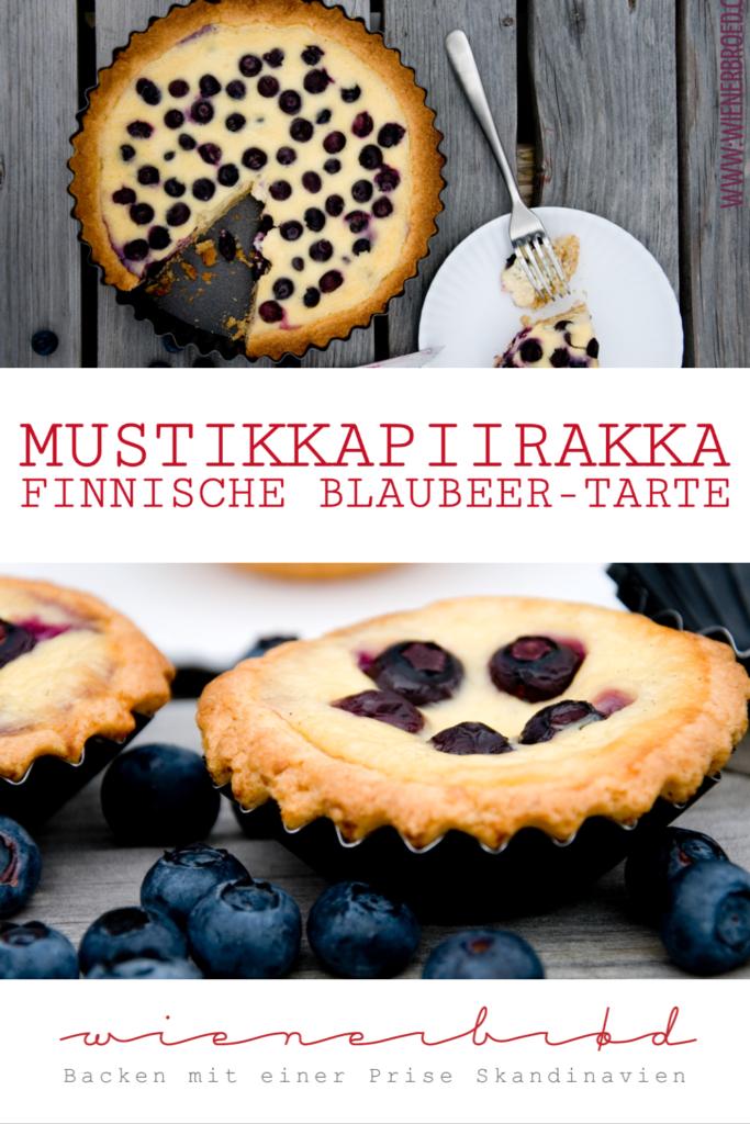 Rezept für Mustikkapiirakka, eine finnische Blaubeer-Tarte mit knusprigem Boden und eine Füllung aus Saueerrahm und Blaubeeren / Finnish blueberry tarte [wienerbroed.com]