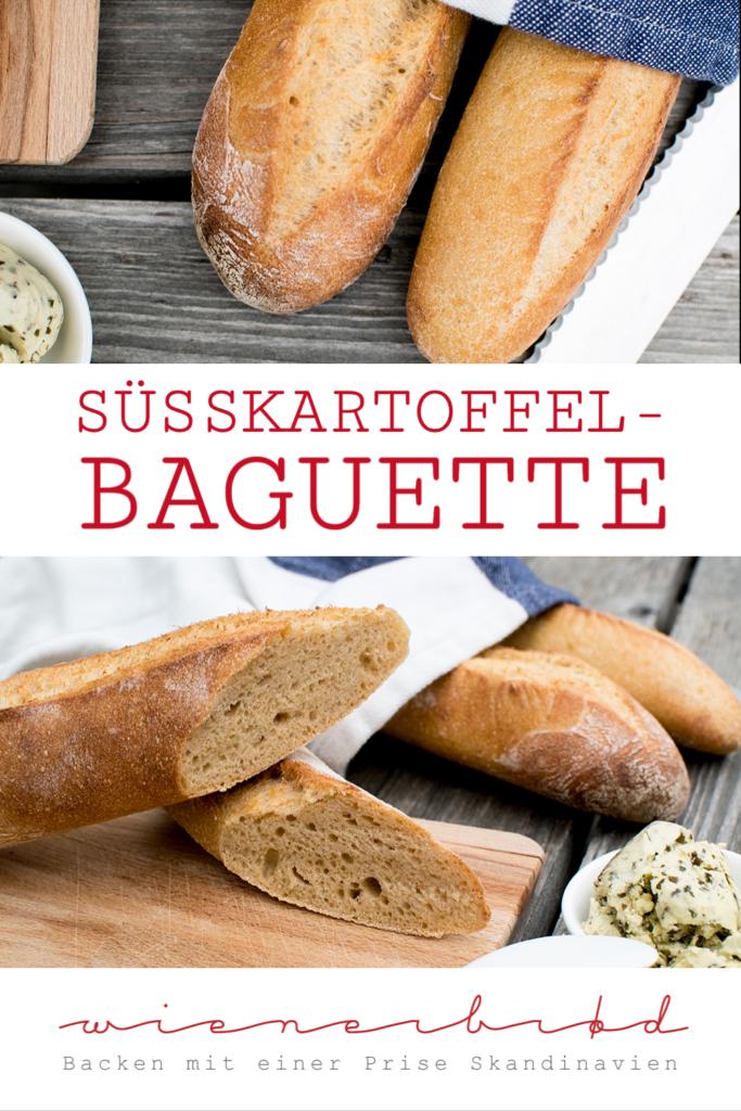Rezept für Süßkartoffel-Baguette, saftig und knusprig, perfekt zum Grillen, Grillbrot, BBQ-Brot / Sweet potato baguette [wienerbroed.com]