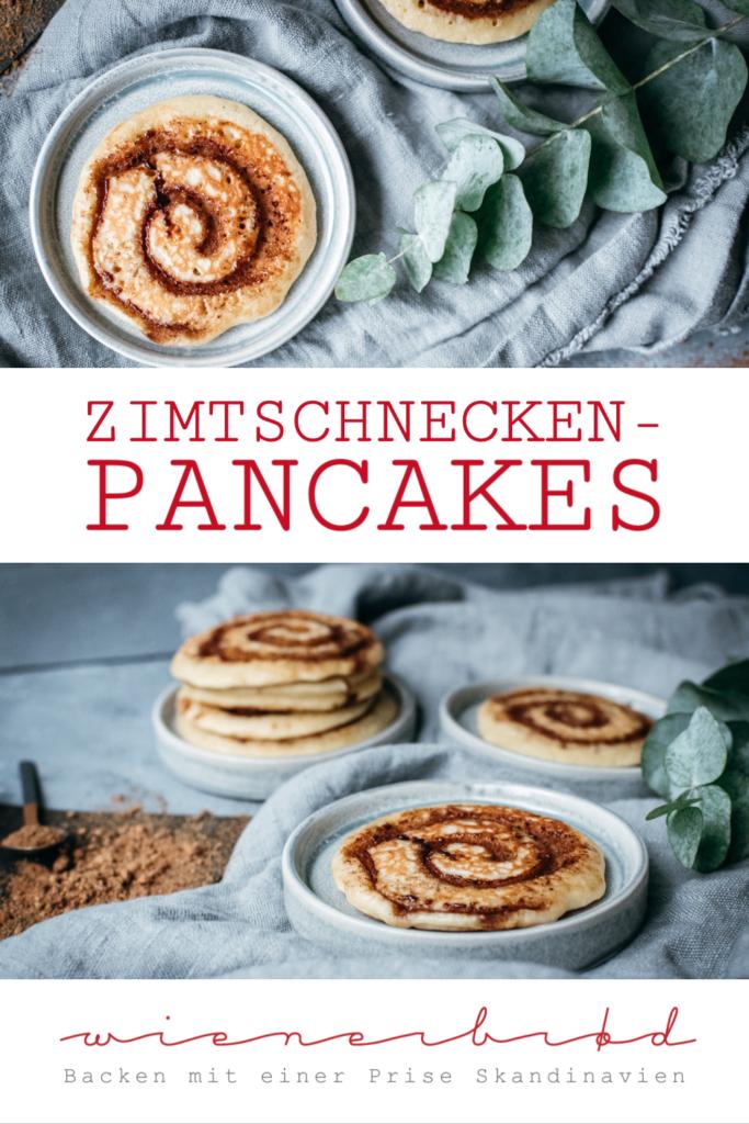 Zimtschnecken-Pancakes, Rezept für kleine, flache Zimtschnecken, Pancakes mit Zimtschnecken-Geschmack und Zimtschnecken-Aussehen, einfache und schnelle Zubereitung / Cinnamon bun pancakes [wienerbroed.com]