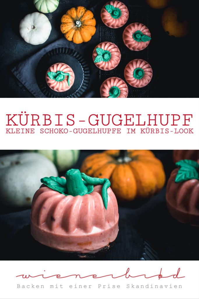 Rezept für Kürbis-Gugelhupf, kleine Schoko-Gugelhupfe mit orangener Vanille-Glasur, die aussehen wie Kürbisse, Halloween-Rezept / Mini pumpkin bundt cakes [wienerbroed.com]