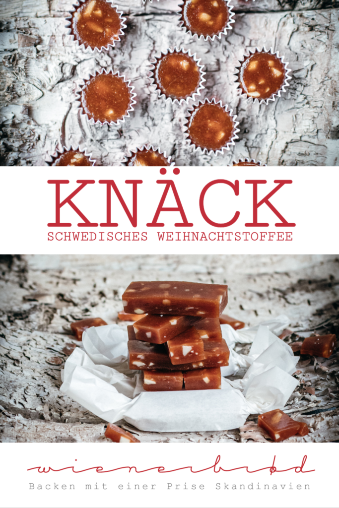 Rezept für Knäck, schwedisches Weihnachtstoffee mit Mandeln, als Karamellbonbon / Recipe for Knäck, Swedish Christmas toffee [wienerbroed.com]