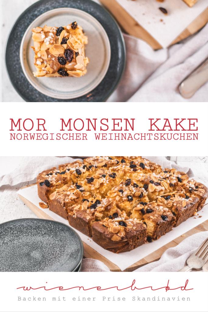 Rezept für Mor Monsen Kake, den traditionellen norwegischen Weihnachtskuchen aus Biskuit mit Zitrone, Mandeln, Rosinen und Hagelzucker / Recipe for Norwegian Mor Monsen Cake [wienerbroed.com]