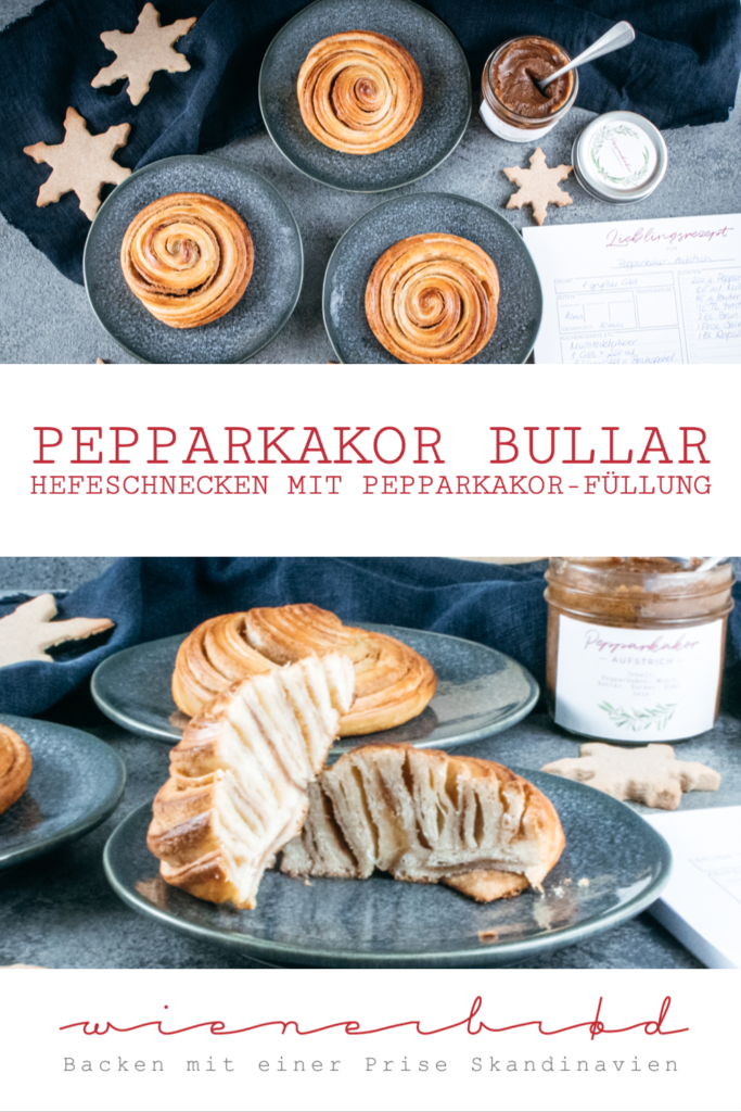 Rezept für Pepparkakor Bullar, Hefeschnecken mit einer Füllung aus Aufstrich mit Pepparkakor, mit Rezept für Pepparkakor Cookie Butter / Recipe for Pepparkakor yeast dough buns [wienerbroed.com]