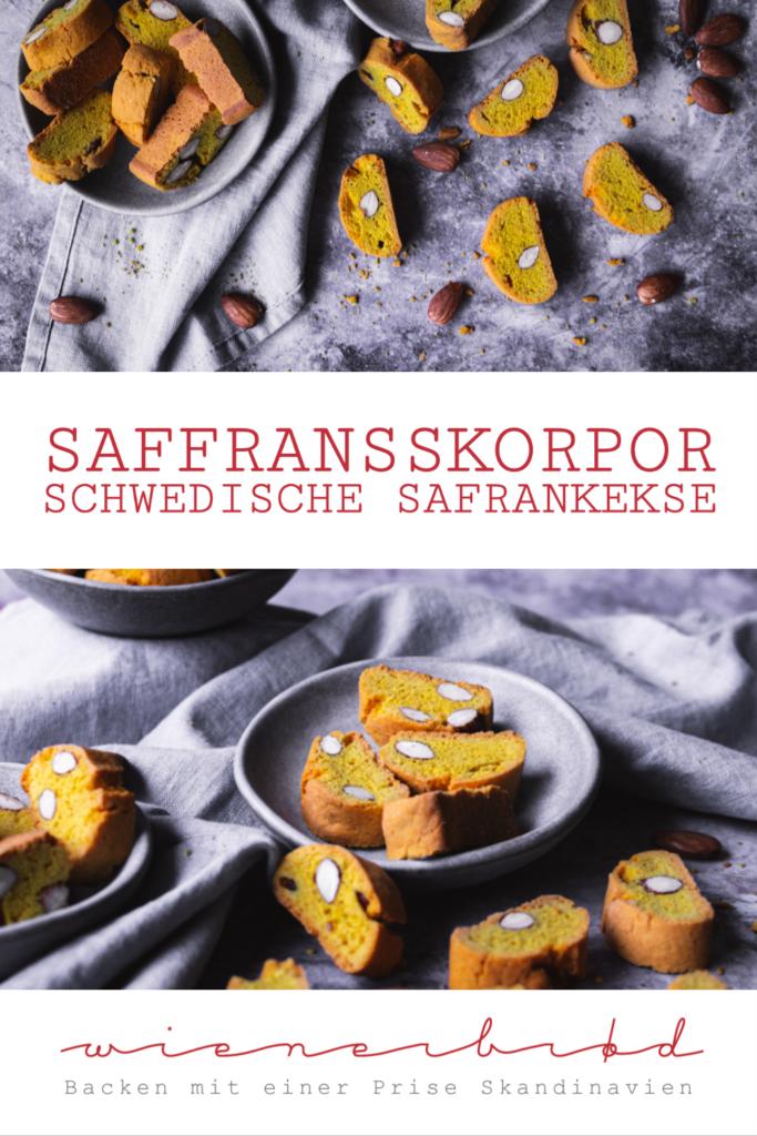 Rezept für Saffransskorpor, doppelt gebackene schwedische Safrankekse mit Mandeln, ähnlich den italienischen Cantuccini / Swedish saffron cookies Saffransskorpor [wienerbroed.com]