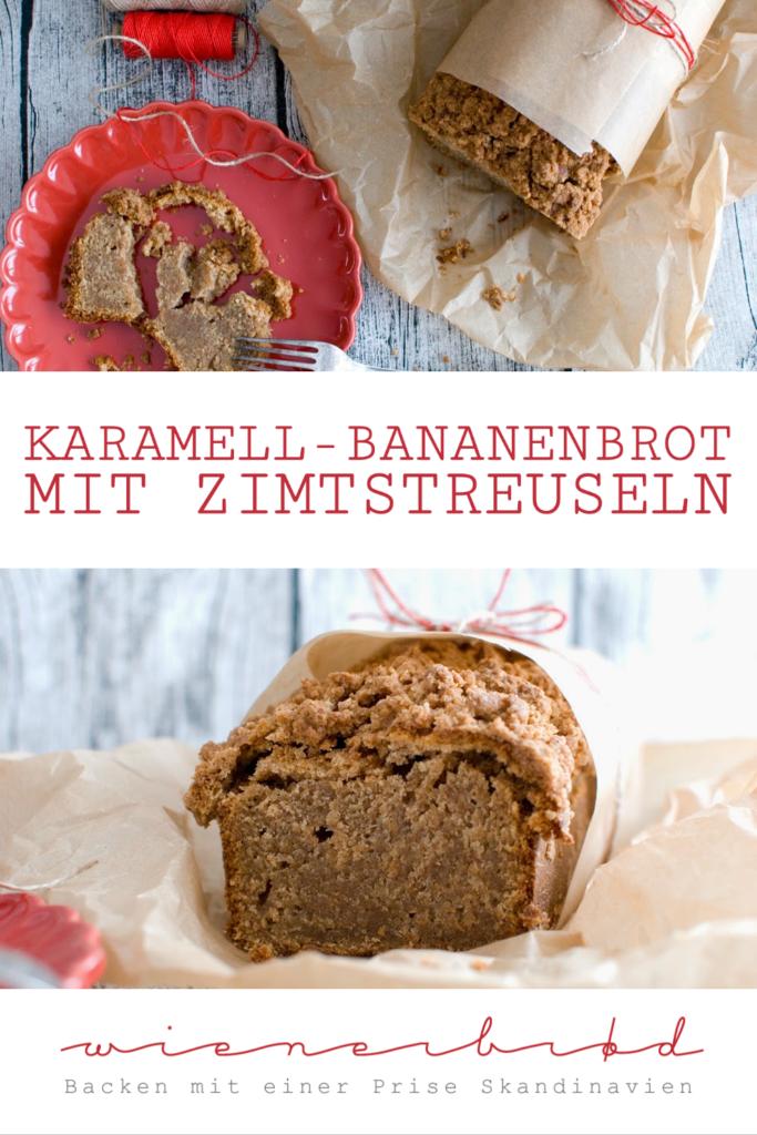 Rezept für Karamell-Bananenbrot mit Zimtkruste, saftiger Kuchen mit knusprigen Streuseln / Caramel banana bread with cinnamon crust [wienerbroed.com]
