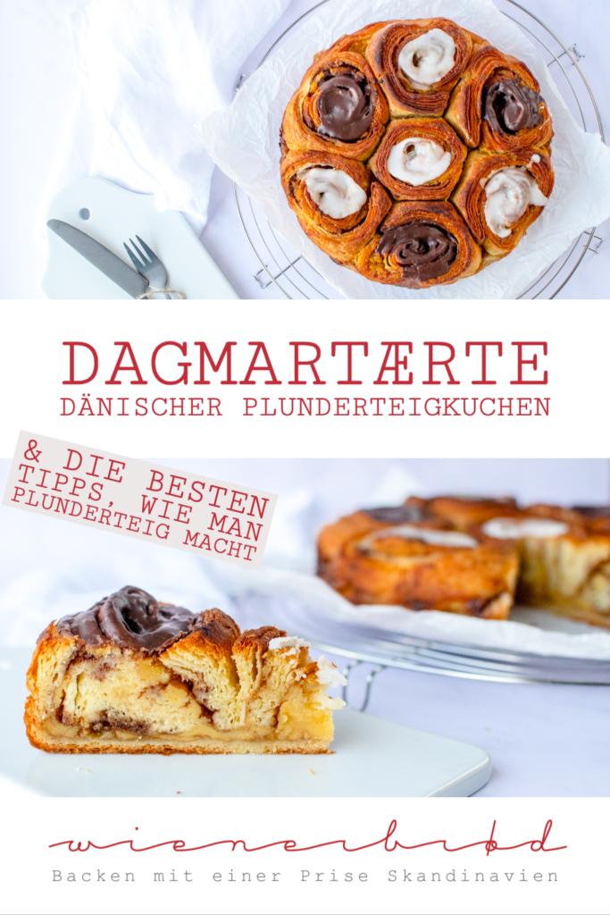 Rezept für Dagmartærte, klassischer dänischer Plunderteigkuchen mit Vanillecreme, Remonce & Zuckerguss, Tipps wie man Plunderteig macht, Smørtærte / Dagmartærte, classic Danish cake with vanilla custard [wienerbroed.com]