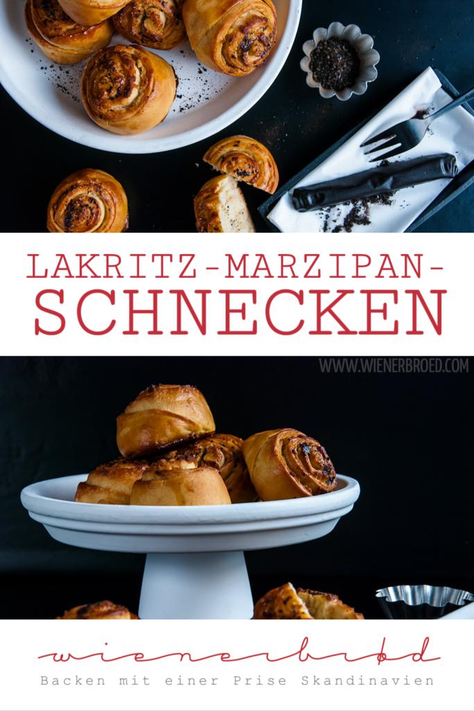 Rezept für Lakritz-Marzipan-Schnecken, fluffige Hefeteigschnecken mit einer saftigen Füllung aus Marzipan und Lakritz / Licquorice marcipan buns [wienerbroed.com]