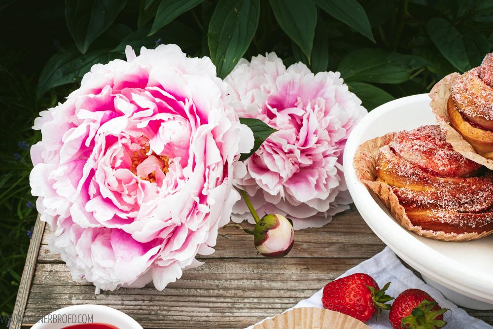 Erdbeer-Vanille-Schnecken / Hefeteig-Schnecken mit Erdbeerfüllung und Erdbeer-Zucker © Katharina Laurer, wienerbroed.com