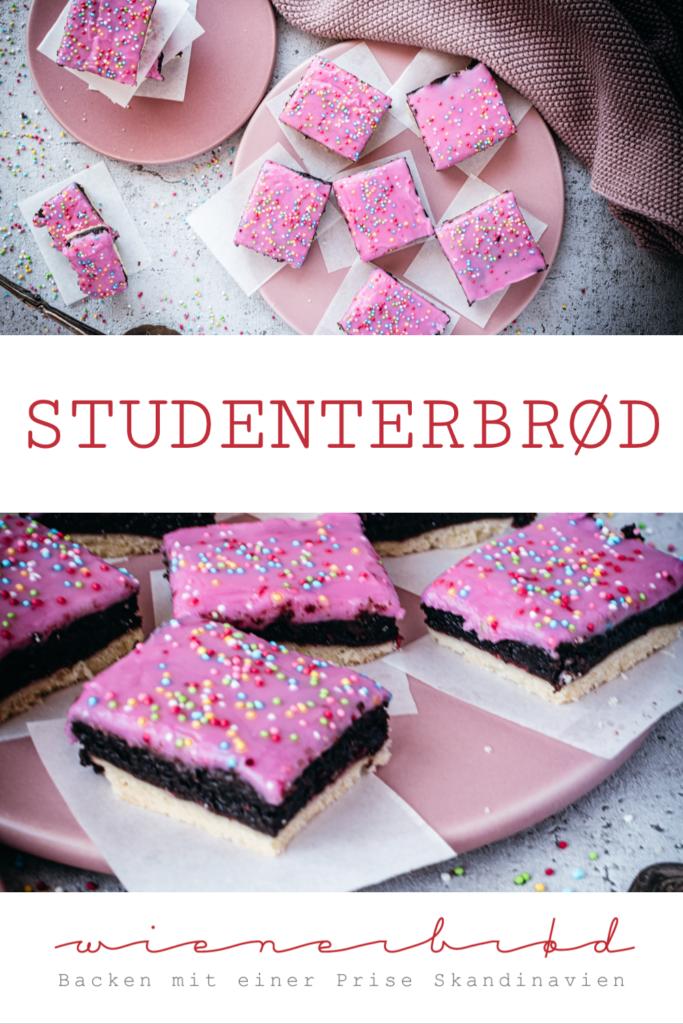 Rezept für dänisches Studenterbrød, Schnitte aus Mürbeteig, dänischer Rumkugel-Masse, Himbeermarmelade und Zuckerguss [wienerbroed.com]